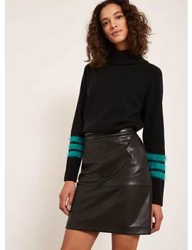 Black Leather Look Mini Skirt by Mint Velvet