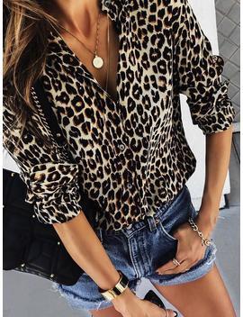 Long Sleeve Leopard Print Casual Shirt by Ivrose