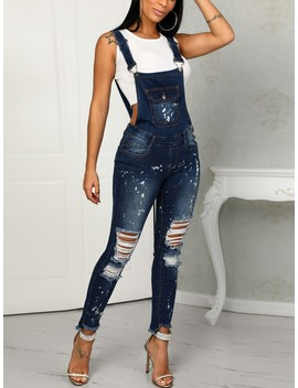 Denim Distressed Holey Pocket Suspenders Jumpsuit by Ivrose