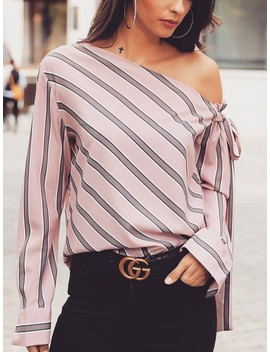 Stripes Skew Neck Knotted Sleeve Blouse by Ivrose