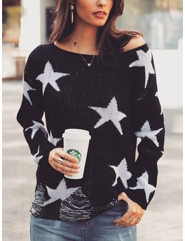 Star Print Ripped Pullover Casual Sweater by Ivrose