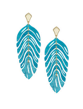 Lotus Gold Statement Earrings In Teal Marbled Acrylic by Kendra Scott