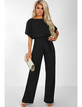 Oh So Glam Black Belted Wide Leg Jumpsuit by Pink Boutique