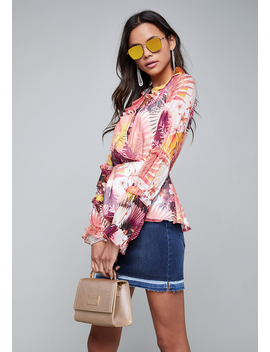 Print Ruffled Blouse by Bebe