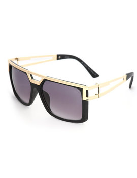 Glossy Black Sunglasses With Top Bar by Buyers Picks