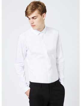 White Stretch Skinny Fit Long Sleeve Shirt by Topman