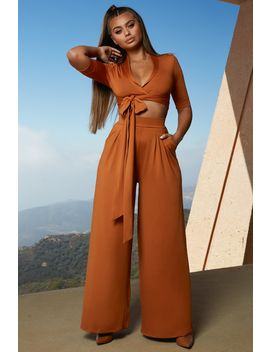 Collar At Me Wide Leg Two Piece In Copper by Oh Polly