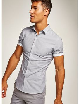 Grey Stretch Short Sleeve Shirt by Topman