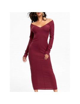 "<P>Open Shoulder Ribbed Maxi Bodycon Dress</P><I Class=""Icon Down Js Tap Up Down""></I> by Dress Lily"