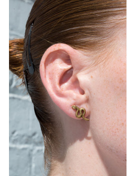 Gold Snake Stud Earrings by Brandy Melville
