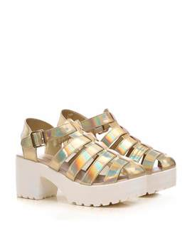 Gold Holographic Chunky Platform Multi Strap Sandals by Koi Footwear