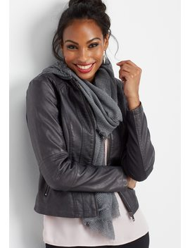 Elbow Stitch Faux Leather Jacket by Maurices