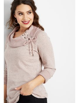 Lace Up Neck Rib Trim Pullover by Maurices