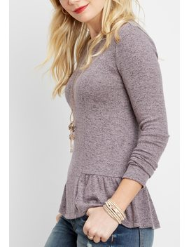Solid Long Sleeve Peplum Tee by Maurices