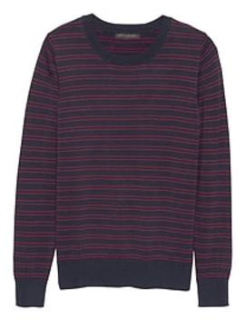 Double Stripe Machine Washable Forever Crew Neck Sweater by Banana Republic Factory