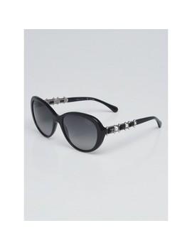 Black Acetate Cat Eye Frame Bijou Pearl Sunglasses 5337 by Chanel