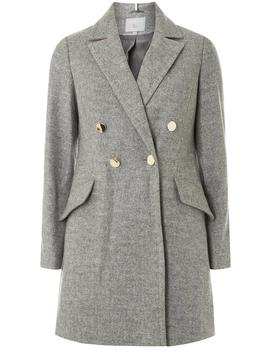 Petite Grey Double Breasted Coat by Dorothy Perkins