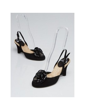 Black Suede And Patent Leather Camellia Flower Slingback Wedges Size 5.5/36 by Chanel