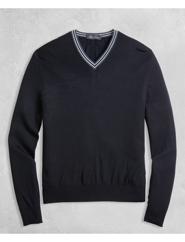 Golden Fleece® 3 D Knit Merino Fine Gauge V Neck Sweater by Brooks Brothers