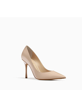 Dior D Stiletto High Heeled Shoe In Nude Patent Calfskin Leather by Dior