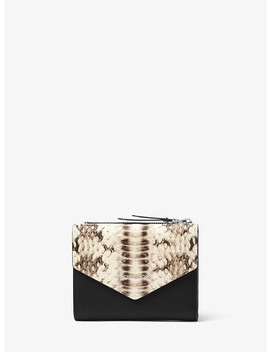 Jet Set Small Snake Embossed Leather Envelope Wallet by Michael Michael Kors