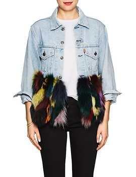 Fox Fur Trimmed Denim Jacket by Harvey Faircloth