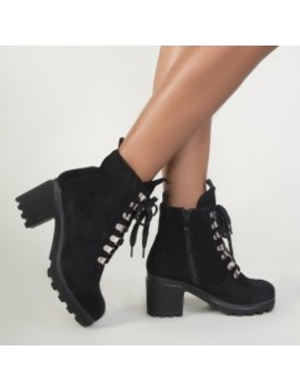 Allie Lace Up Hiker Boots In Black Faux Suede by Public Desire