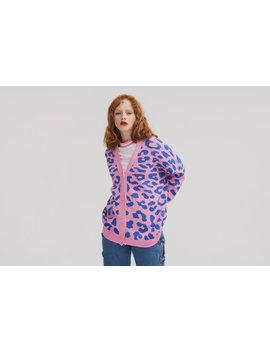 Lazy Oaf Pink Leopard Cardigan by Lazy Oaf