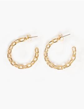 Chain Link Gold Hoop Earrings by Pixie Market