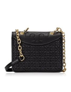 Bryant Quilted Mini Shoulder 46185 Handbag Black Leather Cross Body Bag by Tory Burch