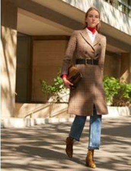 Long Checked Wool Coat by Sandro Eshop