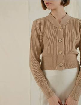 Tan Button Crop Cardigan by Pixie Market
