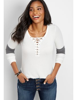 Waffle Grommet Lace Up Tee by Maurices