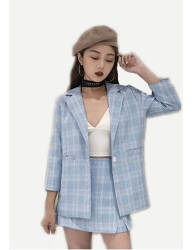 Jeeyon Checkered Blazer With Skort by Seoul In Love