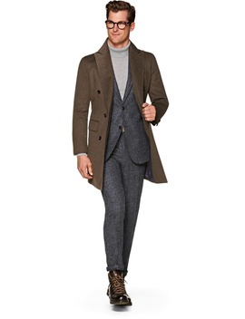 Brown Double Breasted Coat by Suitsupply