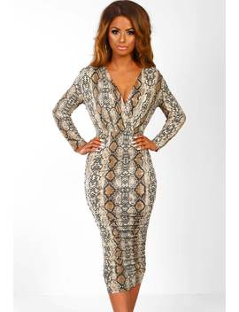 Take The Chance Multi Snake Print Ruched Midi Dress by Pink Boutique