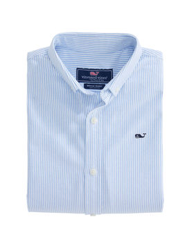 Boys Fine Line Stripe Oxford Whale Shirt by Vineyard Vines
