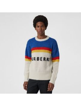 Striped Logo Intarsia Mohair Wool Blend Sweater by Burberry