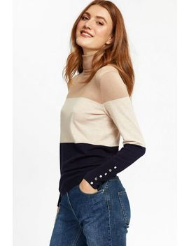 Stone Colour Block Polo Neck Jumper by Wallis