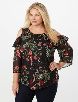Plus Size Cold Sholder Floral Polka Dot Blouse by Dressbarn