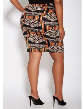 Printed Scuba Pencil Skirt by Ashley Stewart