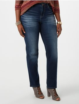 Plus Size Signature Fit Soft Stretch Straight Leg Jeans by Dressbarn