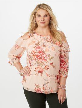 Plus Size Cold Shoulder Shimmer Floral Blouse by Dressbarn