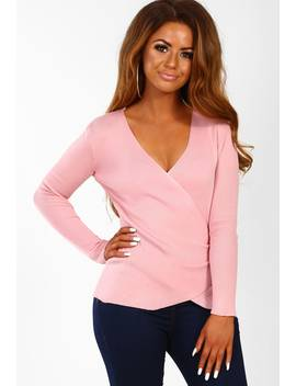 Broadway Girl Pink Wrap Knitted Jumper by Pink Boutique