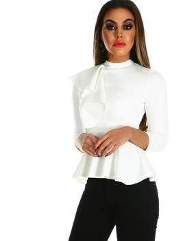 Bad At Love White Frill Front High Neck Peplum Top by Pink Boutique