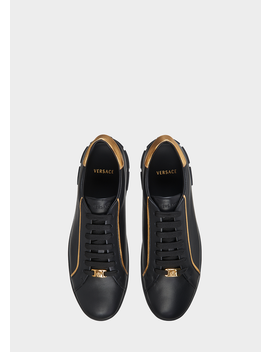 Medusa Gold Trim Trainers by Versace