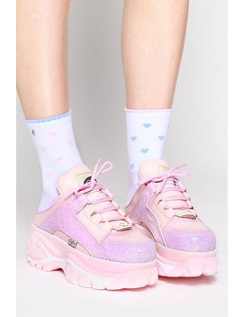 Pink Glitter Backless Platform Sneakers by Goodbye Bread