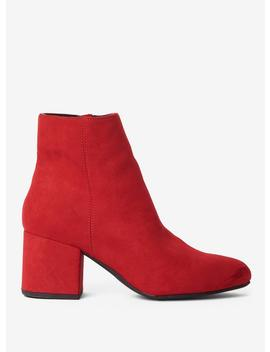 Wide Fit Red 'aubree'' Block Heel Ankle Boots by Dorothy Perkins