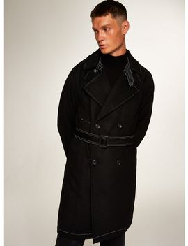 Black Contrast Stitch Mac With Wool by Topman