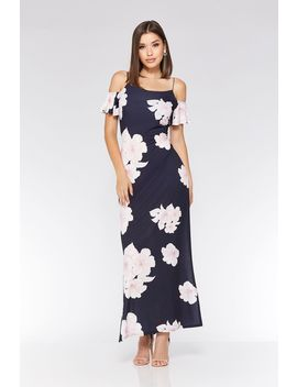 Navy And Pink Cold Shoulder Maxi Dress by Quiz